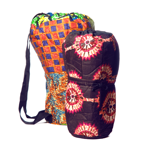 Direct from Ghana, West Africa and bursting with colour and character. These padded cloth bags are durable and unique. Includes reinforced handles.