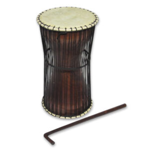 This unusual percussion instrument is played while tucked under one arm. Comes complete with shoulder strap and traditional wooden striker.